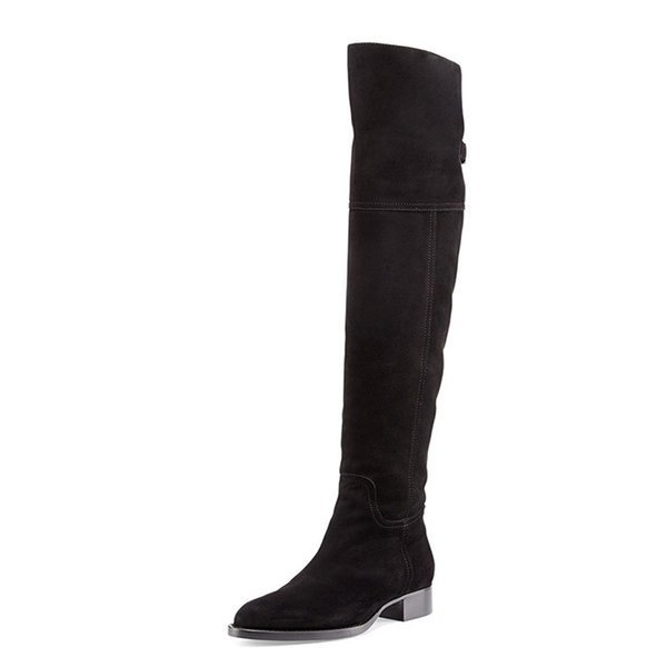 Thigh High Boots Over the Knee Boots Black Women Full Genuine Leather 3 cm Heel Knee High Boots Womens Winter