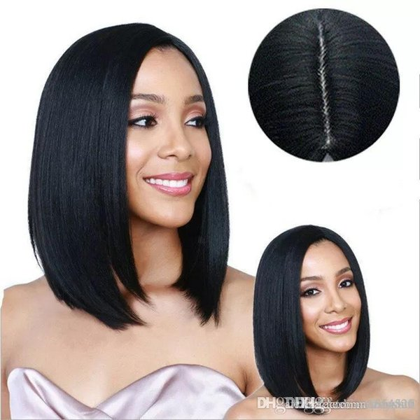 Woman wig fluffy natural middle bangs straight hair shoulder-length African European and American fashion wig sets
