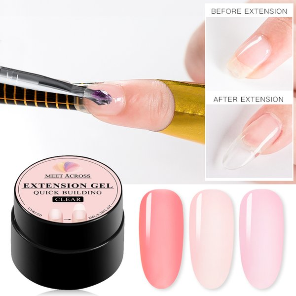 MEET ACROSS Art Poly Varnish Gel Manicure Strumento 8ml libera Poly gel acrilico estensione polacco 6 colori Quick Builder Kit Nail