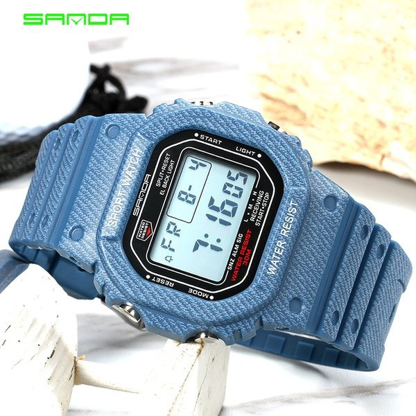 SANDA SD339G Denim Sport Digitaluhr G Style LED Herrenuhren Wasserdicht Shock Resist Clock relogio masculino