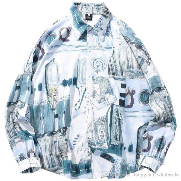 2019 Hip Hop Hemd Männer Streetwear Primitive Maya Print Hemd Retro Harajuku Hemd Langarm Freizeitkleidung HipHop Übergröße
