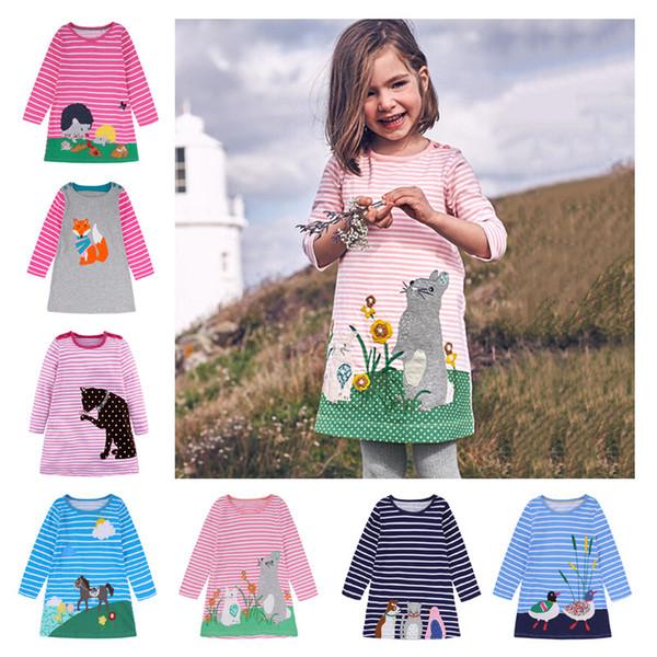 Dessin au détail bébé fille vêtements à manches longues bande dessinée bande dessinée brodé robes de princesse pour enfants boutique vêtements vêtements