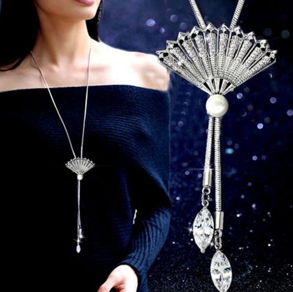 Korean version of the crystal flower hair chain jewelry spring autumn winter new fan long necklace female high-end accessories