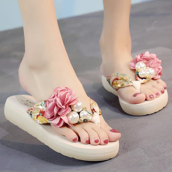 T-009 Женские пляжные туфли на платформе, босоножки, сандалии в женских цветочных туфлях на танкетке