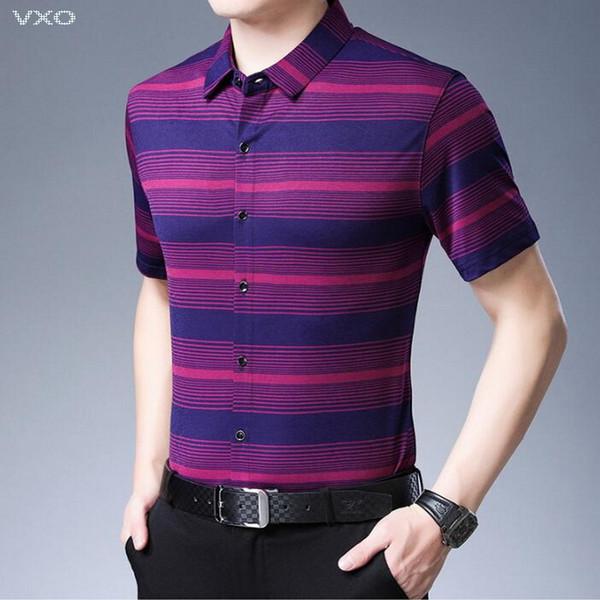 VXO 2019 Yaz Sosyal Iş Rahat Gömlek Camisa Masculina Serin Kısa Kollu Erkek Gömlek Moda Çizgili Gömlek Erkekler