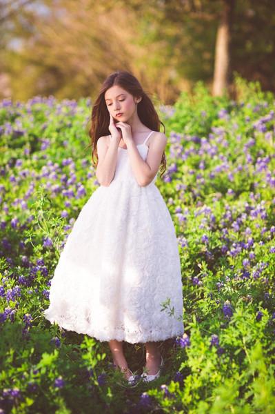 Beyaz Fildişi Çiçek Kız Elbise Dantel Toddlers İlk Communion Vaftiz Paskalya Noel Küçük Kız Çocuklar Resmi Amaçlar Özel Elbise