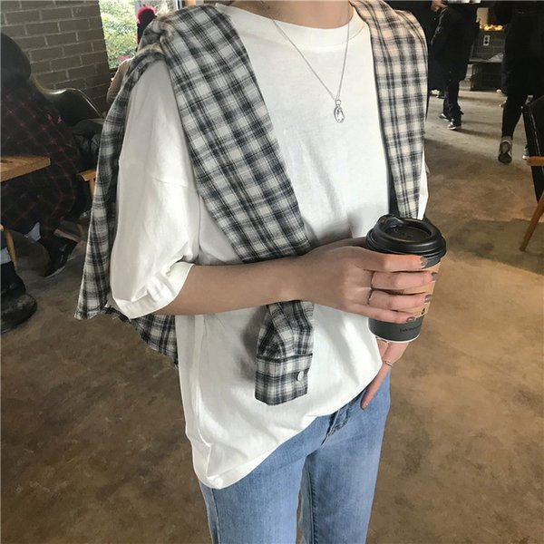 new women's summer dress Korean version solid color round neck short-sleeved female of the long section T-shirt