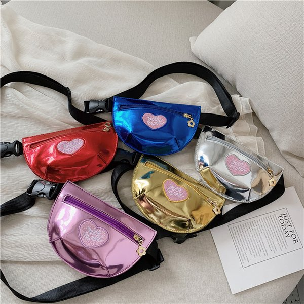 5styles kids Heart Fanny Pack Embroidered Hip Hop Style Fashion PU Belt Design Waist Bag Girl Shoulder Bags outdoor travel Bags FFA2555