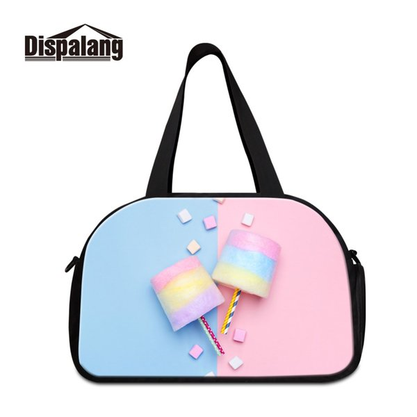 New Style PU Sport Bags for Training Large Capacity Tote Handle Outdoor Spun Sugar Image Words Travel Crossbody Bags Women