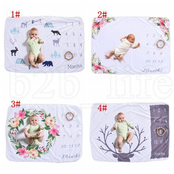 Fotografia do bebê infantil fundo cobertores adereços fotográficos letras flor velo fotográfico cobertor recém-nascido 4 design kka7508
