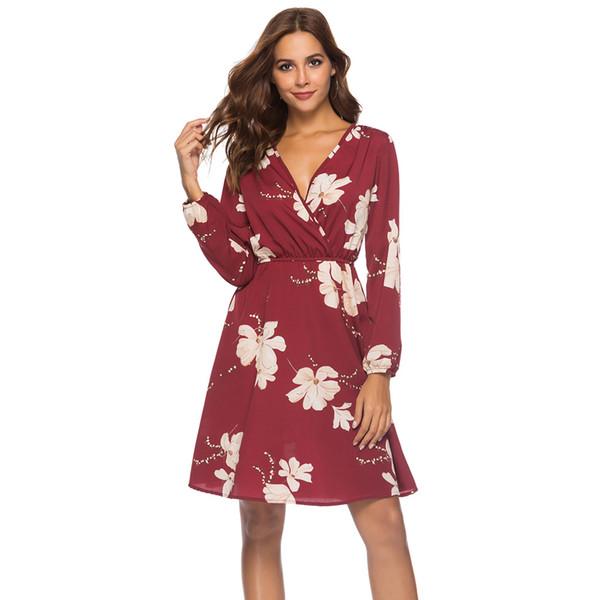 2019, nuevo verano y otoño, vestido de gasa con manga larga, con cuello de pico, vestido de gasa con estampado de manga larga, vestido de gasa de las mujeres.