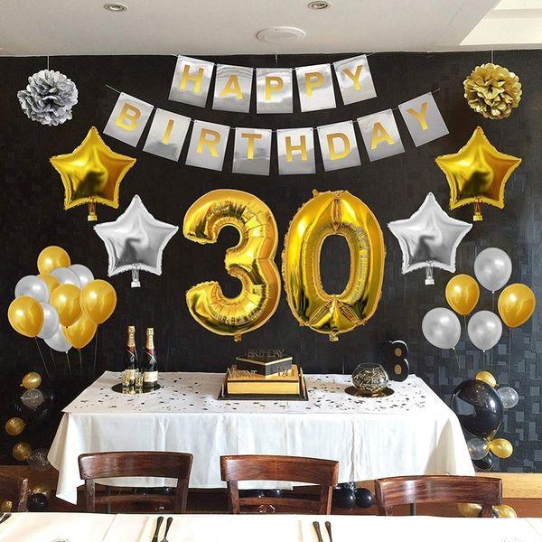 Ouro Preto Kit Decoração Define Feliz Bandeira 30/40/50/60/70/80 Anos Velho Fontes Do Partido de Aniversário Q190524