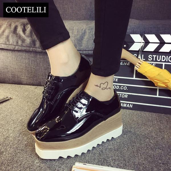 COOTELILI 35-39 Bahar Rahat Katı Düz Kadın Ayakkabı Patent Deri Dantel-Up Loafer'lar Düz Platformlar İngiliz Tarzı bayanlar Oxfords