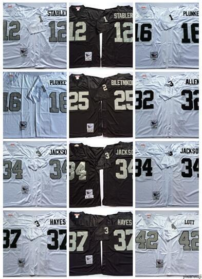 factory authentic fff1d 9a550 Throwback Football Oakland 12 Stabler Jersey Raiders Mens Vintage 16  Plunkett 32 Marcus Allen 34 Bo Jackson 25 Biletnikoff 37 HAYES 42 LOTT