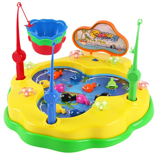 Children electric rotary fishing toy set, magnetic ocean music fishing games puzzle children's toys