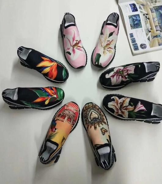 HOT Marque Hommes Tissu Stretch Jersey Imprimé Fleur Sorrento Slip-on Sneaker Designer Lady Deux-tons En Caoutchouc Micro Semelle Respirant Casual w10