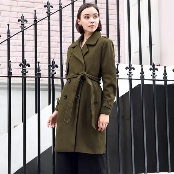 Plus Size Fall Winter Work Army Green Lapel Wool Jacket Autumn Vintage England Style Long Outerwear Woolen Coat Belt Overcoat