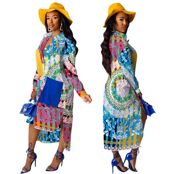 Fashionable Florals Printing Women Long Shirt Dress Asymmetric Style Long Sleeves Turn ddown Neck Gorgeous Party Dress + Pockets