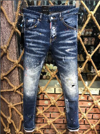 Großhandel NEW2019 Männer 100% Baumwolle Klassisch Kultivieren Sich Lässig Spritzwasser Färben Jeans Biker Denim Fashion Designer Hosen Herren Jeans