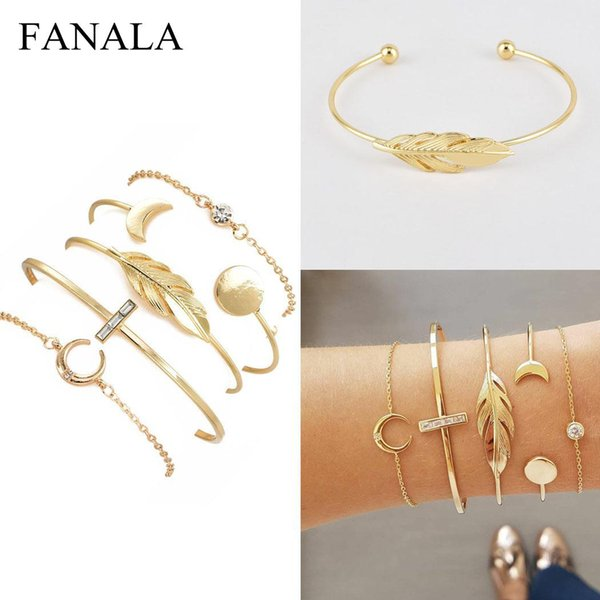 5PCS Women Fashion Moon Leaf Open Cuff Bangle Chain Lobster Claw Clasp Geometry Bracelets Set Casual, Party