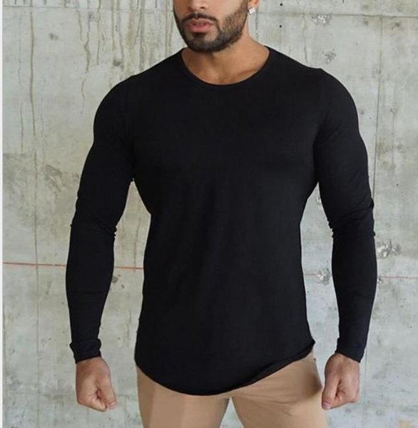 2019 New Pure color blank fitness T-shirt Men's gym long sleeves pure cotton breathable sports autumn and winter fashion trend long sleeves