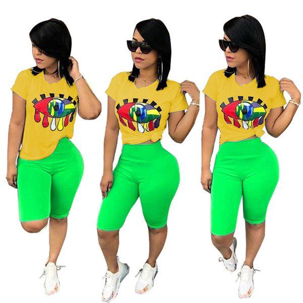 Women Big Eye Print Tracksuit T-Shirt + Shorts Pants 2pcs Set Summer Sport Suit Ladies 2 Pieces Outfits Sportswear Sexy Clothes S-3XL A32802
