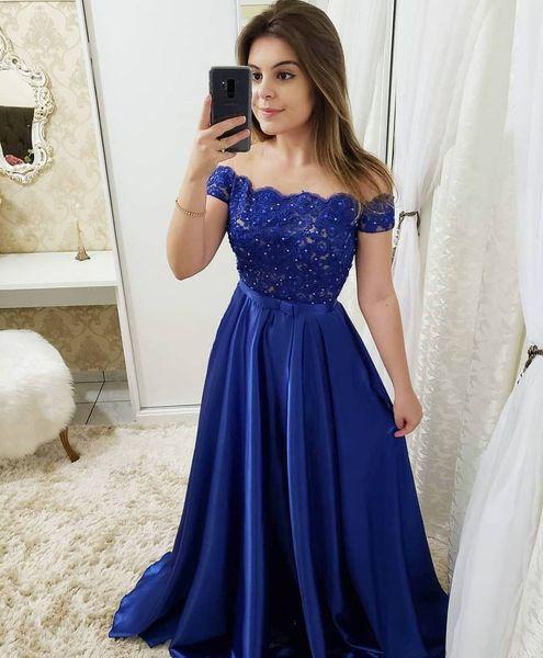 Compre Vestidos De Gala 2019 Elegante Fuera Del Hombro De Encaje Vestidos De Noche Largo Sexy Azul Real Una Línea Con Cuentas Vestido De Fiesta Formal