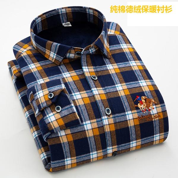 Camicie Abbigliamento uomo di alta qualità tedesca riscaldamento-Tech inverno caldo Top a quadri tinti-Yarn da uomo in cotone al 100% Pure Thick Velvet