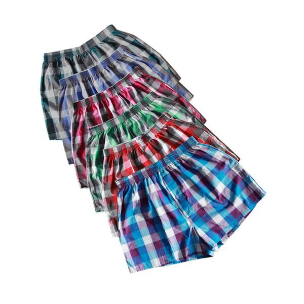 Classic Plaid Men Boxer Shorts Mens Underwear Trunks Cotton Cuecas Underwear boxers for male Woven Homme Boxer Arrow Panties Y19042302