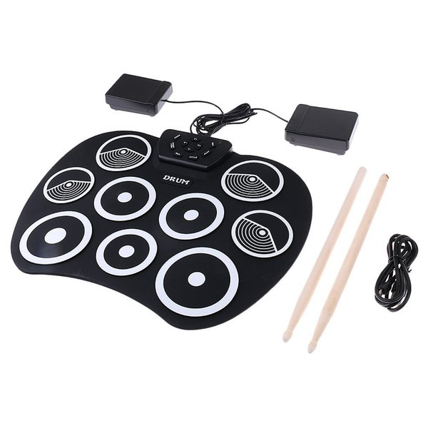 Portable Electronics Drum Kit Roll Up Drum 9 Drumsticks USB Silica gel+plastic Footswitch Powered Pedals USB Cable