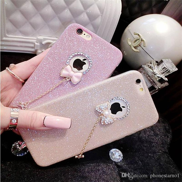 Silicon Rhinestone Phone Case Flash Powder Bling TPU Phone Back Cover For iphone x 7plus 6 6s 5se Ultra-thin With Diamond Soft Phone Shell