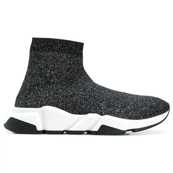 Sapatos de grife Instrutor de Velocidade Casual Sapato Meias Triplo Preto Branco Rosa Glitter Verde Plana Moda mens mulheres Meias Runner Sneakers 36-45