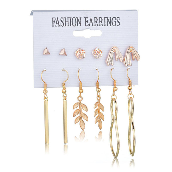 Vintage Alloy Drop Earrings Set Mixed for Women Bohemian Gold Color Leaf Flower Imitation Pearls Statement Hang Brincos Jewelry Wholesale