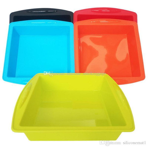 """Silicone Cake Pan 10""""x 9.5""""x2"""" Square Nonstick Unbreakable Soft Bakeware Baking Mould Storage Pans for bread Chocolate Pie Pizza fudge"""