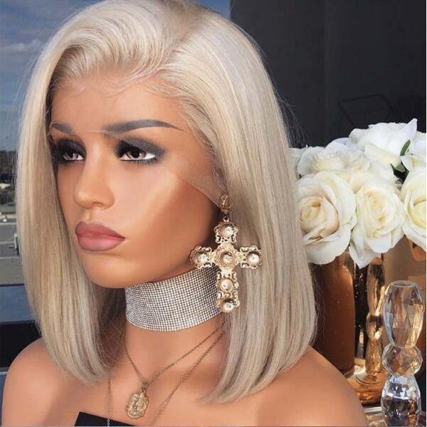 Cheveux Naturels Blonde Couleur Courte Bob Perruques Synthétiques Avant De Lacet Perruque Cheveux Raides 12 Pouces Dentelle Perruques Pour Femmes Résistant À La Chaleur Livraison Gratuite