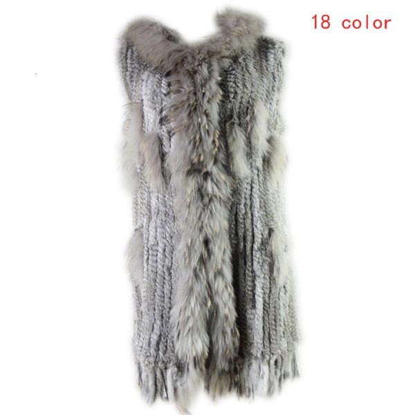2019 Winter Women Leisure Fashion Warm Real Fur Vest Female Knitted Rabbit Fur Gilet Patchwork Raccoon Coat Long Outerwear Vests SH190922