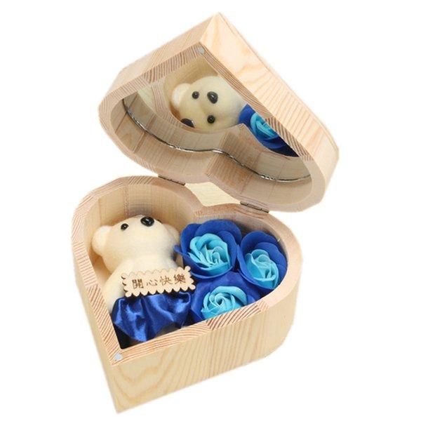 heart-blue rose& bear