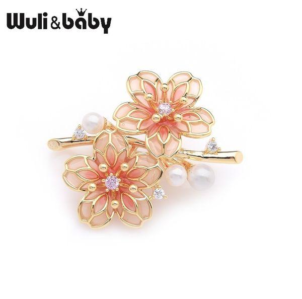 Wulibaby Exquisita Marca Red Plum Blossom Flores Bodas Partido Broches Para Mujeres Pins Regalos SH190721