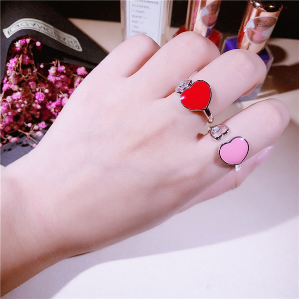 925 Sterling Silver two Heart CZ diamond ring charm pink red enamel double heart ring for women Accessories Minimalist Cuff Opening Jewelry