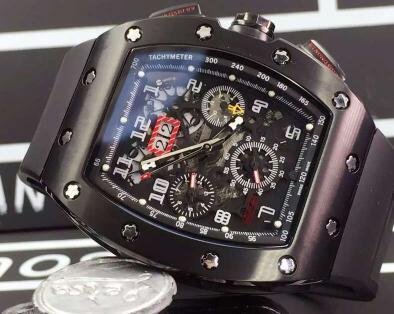 Famosa Marca Suíça Preto PVD Inoxidável Mecânico Automático Relógios de Luxo Felipe Massa Flyback Data de Borracha Homens Relógios De Pulso De Negócios Dos Homens