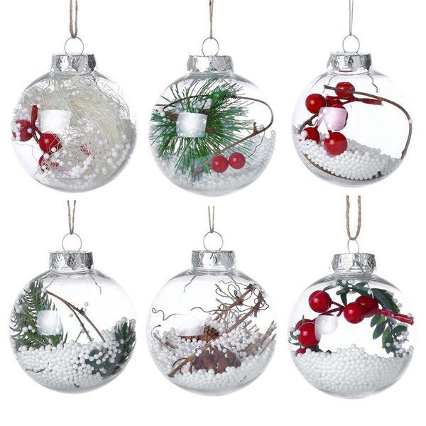 Рождество прозрачный шар 6 стилей романтический Xmas дерево кулон висячие украшения ясно безделушка украшения рождественские украшения OOA6007