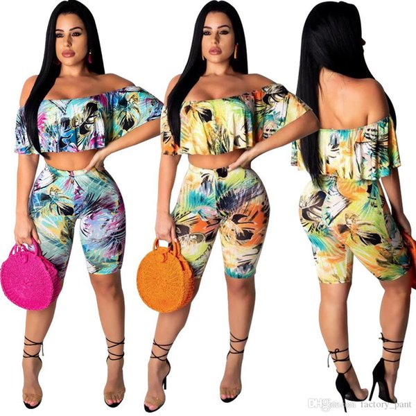 Floral Print Butterfly Women Suits Off Shoulder Two Piece Set Crop Tops +Mid Pants Summer Beach Clothing