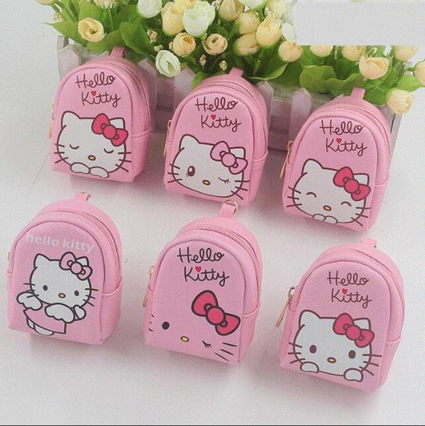 13358da67 12 unids Kawaii Cute Pink Hello Kitty PU Mini mochila Monedero Niñas Fiesta  de cumpleaños Favor