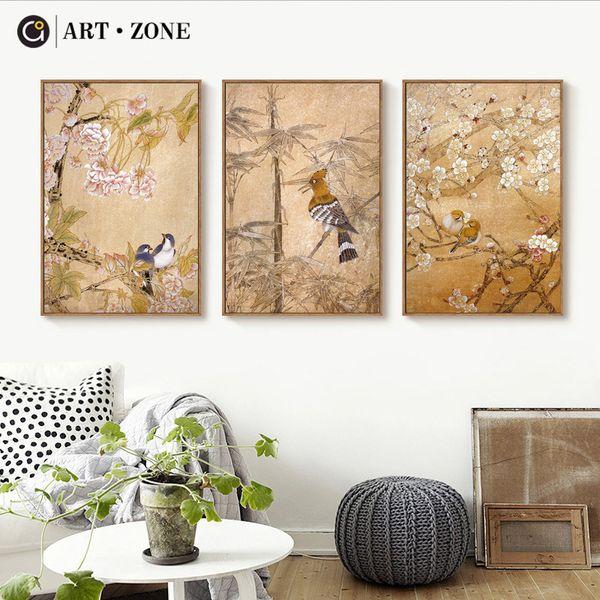 ZONA DE ARTE Pássaro Retro Flor Pintura Da Arte Clássica Chinesa Paisagem Cartaz Impressão de Parede Imagem Pintura Da Lona Animal Poster