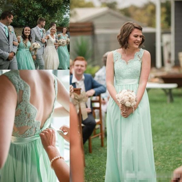 Mint Green Lace Chiffon Bridesmaid Dresses 2018 Backless with Sash Floor Length Wedding Guest Dress For Summer Boho Wedding Party Dresses