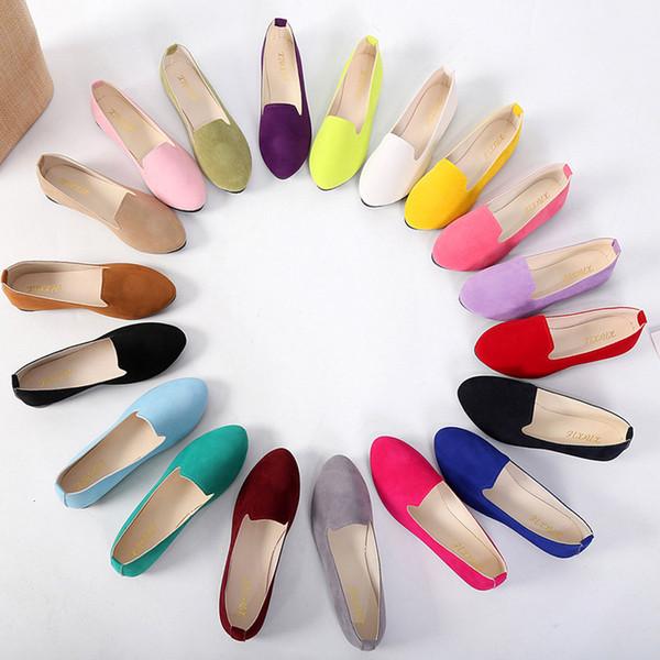 Womens Flats Sapatos de doces bonito cor tênis Loafers Feminino Comfort deslizamento das senhoras Ballet bico redondo Plano zapatos de mujer @ py