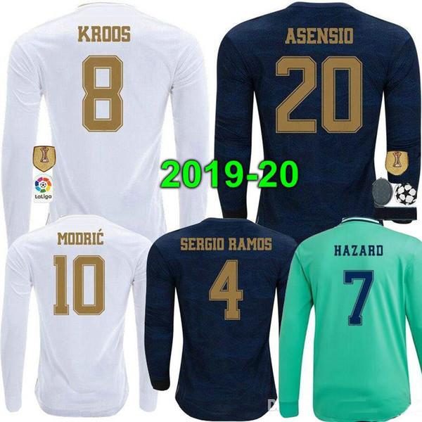 19 20 Real Madrid Soccer Jersey 2019 2020 PERIGO Casa KROOS ISCO Modric uniforme de futebol homem adulto goleiro camisa de futebol de manga comprida