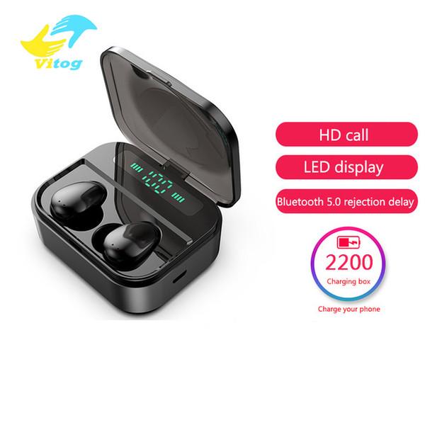 X7 TWS auricular inalámbrico Bluetooth V5.0 Auriculares Bluetooth para auriculares de control Tocar Pantalla LED con 2200 mAh de potencia Auriculares Banco Con Micro