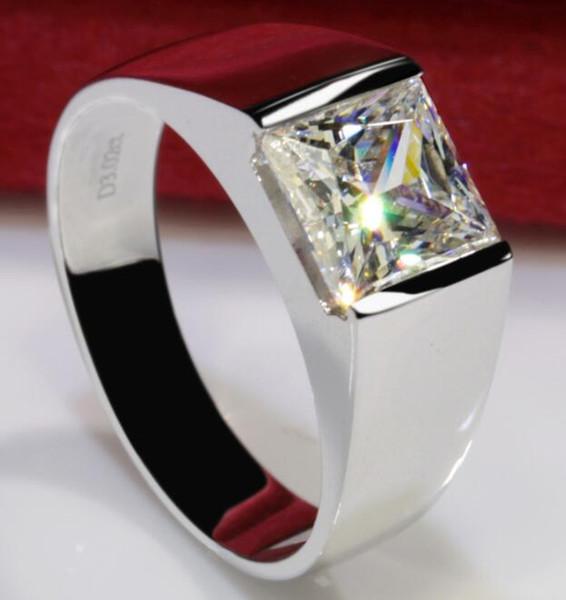 3ct твердые 925 стерлингового серебра годовщина свадьбы Moissanite Сона бриллиантовое кольцо обручальное кольцо ювелирные изделия Мужчины Женщины Brithday подарок