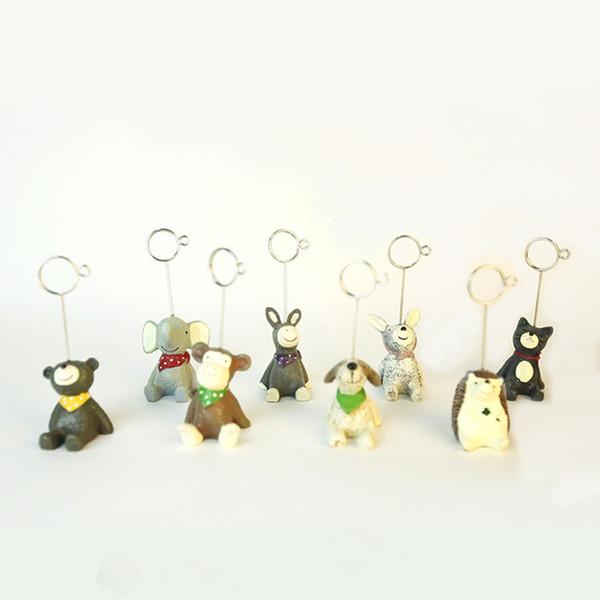 Decorações do jardim 8 Estilo Mini Resina Animal Em Forma de Número de Mesa Titular Lugar Cartão Clipe Paisagem Brinquedos Festa DecorationT2I5415